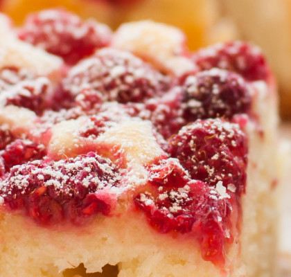 Raspberry Cake Dusted with Icing Sugar, square